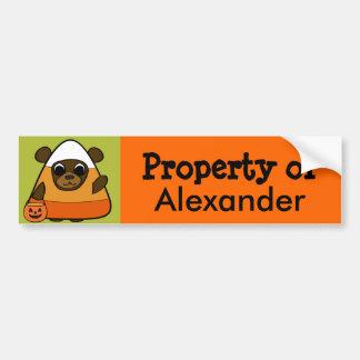 Brown Bear in Candy Corn Costume Bumper Sticker