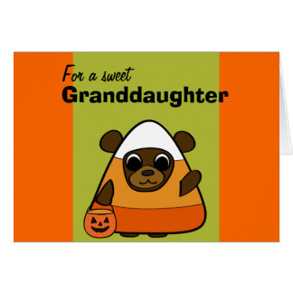 Brown Bear in Candy Corn Costume Card