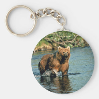 Brown bear in creek keychain