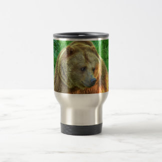 Brown bear in warm sunlight 002 03.1 travel mug