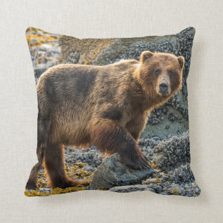 Brown bear on beach 2 throw pillow