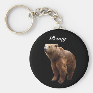 Brown Bear Personalized Basic Round Button Keychain