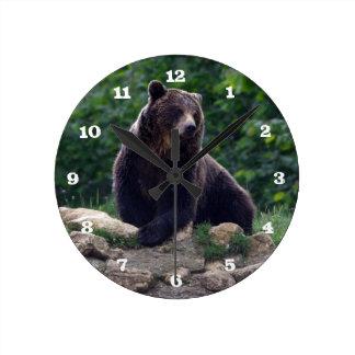 Brown bear round clock