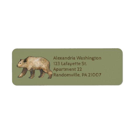 Brown Bear Sage Green Return Address Labels