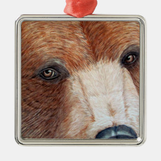Brown Bear Silver-Colored Square Ornament