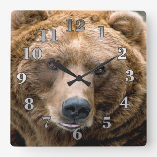 Brown Bear Square Wall Clock