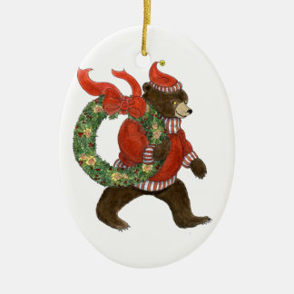 Brown Bear's Christmas Wreath Ornament