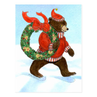 Brown Bear's Christmas Wreath Postcard