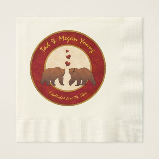 Brown Bears Country Wedding Monogrammed Disposable Napkin