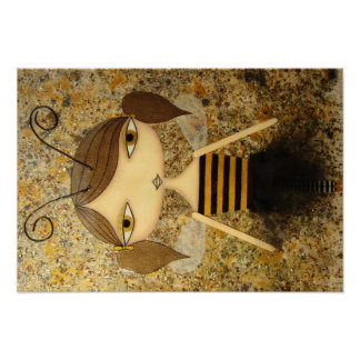 """Brown Bee Girl"" 19 x 13 inch Poster! Poster"