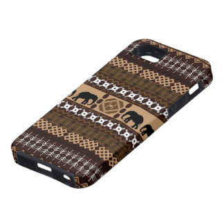 Brown & Beige African Pattern With Elephants iPhone 5 Cases