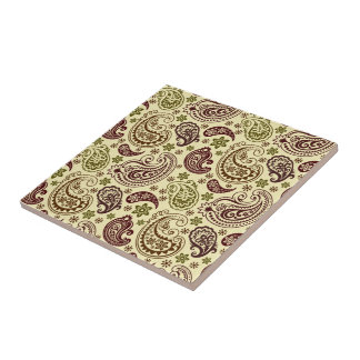 Brown Beige And Pastel Green Vintage Paisley Patte Ceramic Tile