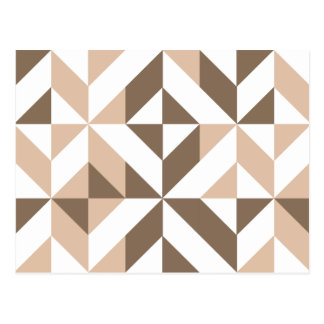 Brown Beige Geometric Cube Pattern Postcard