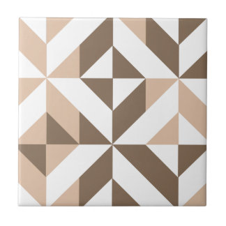 Brown Beige Geometric Cube Pattern Tile