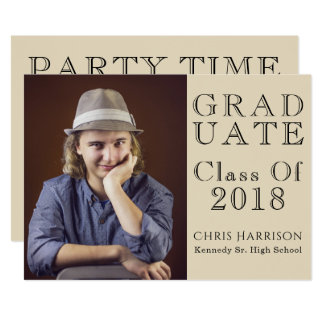 Brown & Beige GRAD Class of 2018 Photo Invitation