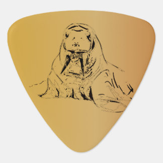Brown Beige Hand Drawn Walrus Digitized Pick