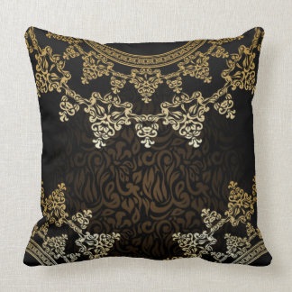 Brown & Beige Lace Throw Pillow