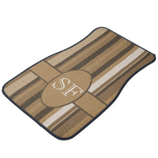 Brown Beige Stripe Monogram Car Mat