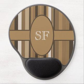 Brown Beige Stripe Monogram Gel Mouse Pad
