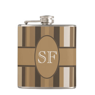 Brown Beige Stripe Monogram Hip Flask