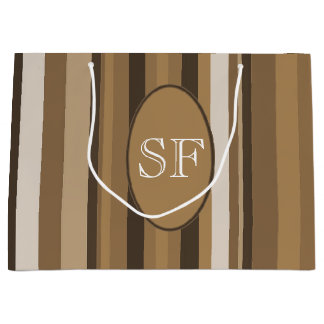 Brown Beige Stripe Monogram Large Gift Bag