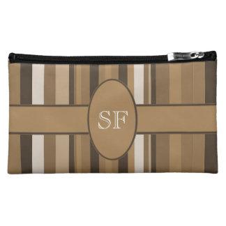 Brown Beige Stripe Monogram Makeup Bag