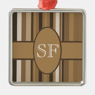 Brown Beige Stripe Monogram Metal Ornament