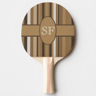 Brown Beige Stripe Monogram Ping Pong Paddle