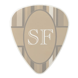 Brown Beige Stripe Monogram Polycarbonate Guitar Pick