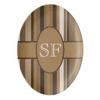 Brown Beige Stripe Monogram Porcelain Serving Platter