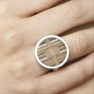 Brown Beige Stripe Monogram Ring