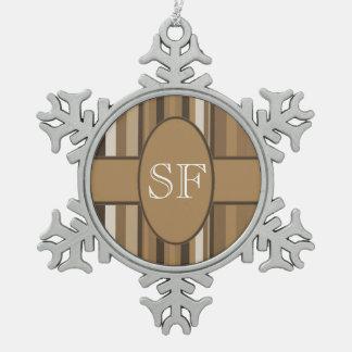 Brown Beige Stripe Monogram Snowflake Pewter Christmas Ornament