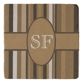Brown Beige Stripe Monogram Trivet
