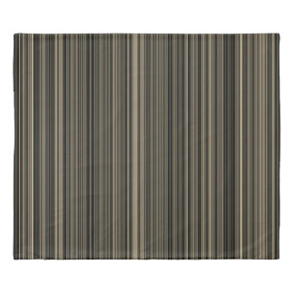 Brown Beige taupe retro stripe king Duvet Cover