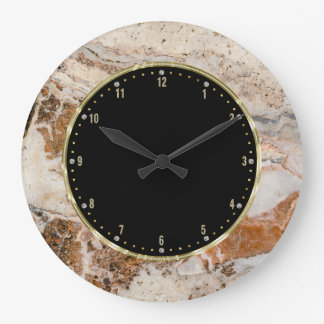 Brown & Beige Texture Print Wall Clocks
