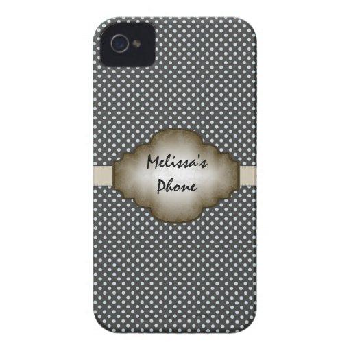 Brown & Beige Vintage Dots Blackberry Phone Case Blackberry Bold Cases