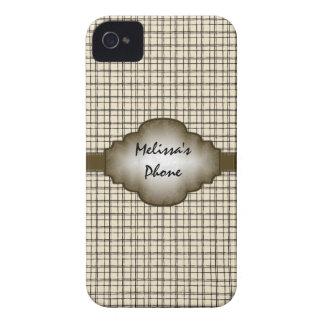 Brown Beige Vintage Plaid Blackberry Phone Case iPhone 4 Cover
