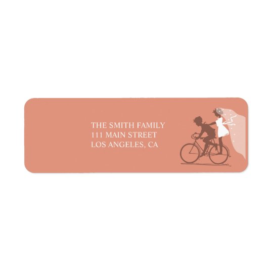 Brown Bicycle Couple Wedding Return Address Label