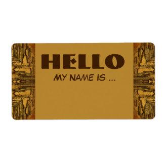 brown biege name badge