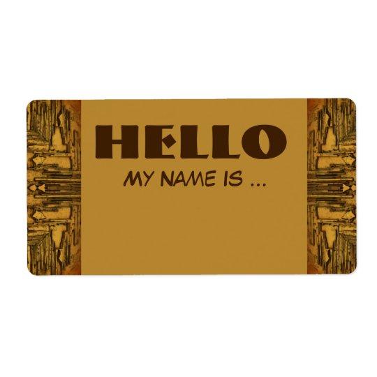 brown biege name badge shipping label
