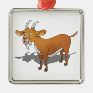 Brown Billy goat Silver-Colored Square Ornament