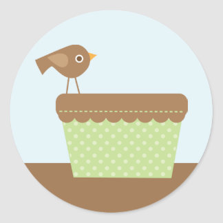 Brown Bird and Baby Laundry Classic Round Sticker
