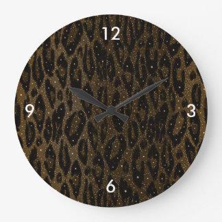 Brown Black Cheetah Stars Large Clock