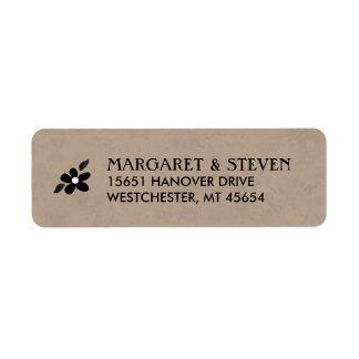 Brown & Black Floral Wedding Label