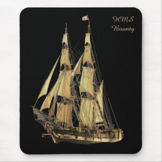 Brown & Black Image of Tall Ship Mouse Pad