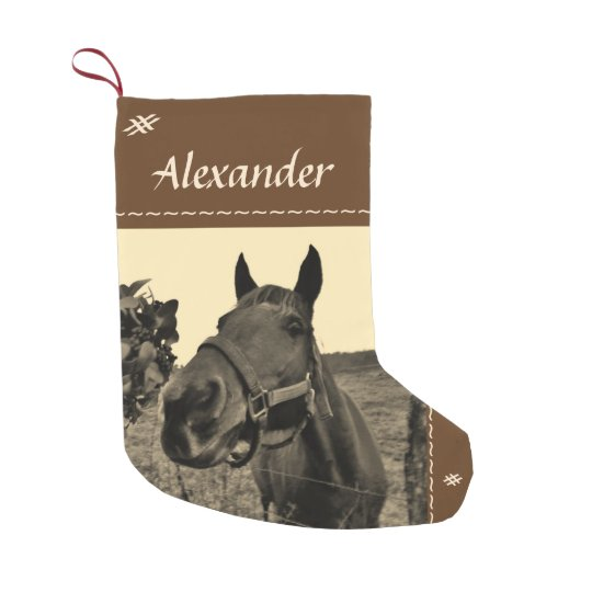 Brown Black sepia tone Christmas horse Small Christmas Stocking