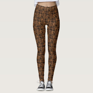 Brown Black Small Woven Leggings