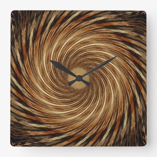 Brown Black Spiral Wave Kaleidoscope Art Clock