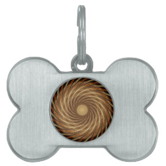 Brown Black Spiral Wave Kaleidoscope Art Pet ID Tag