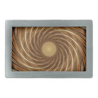Brown Black Spiral Wave Kaleidoscope Art Rectangular Belt Buckles